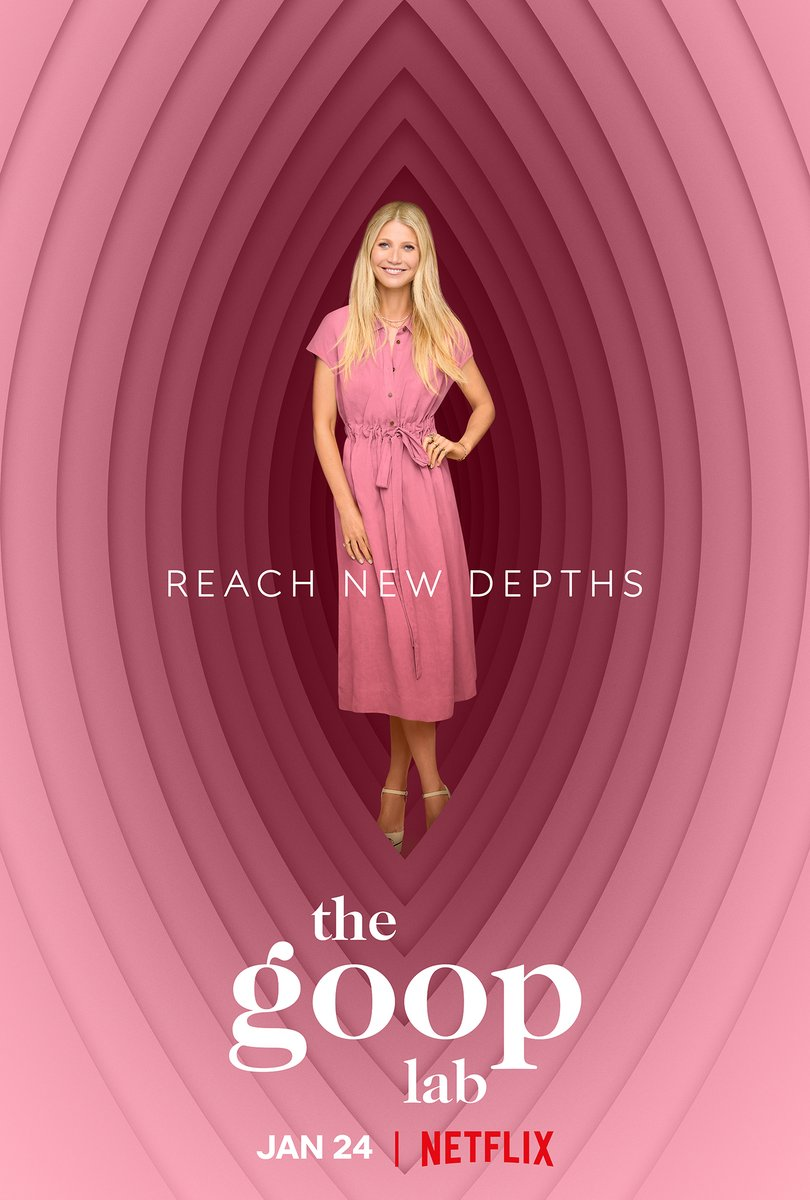 Gwyneth Paltrow in the middle of a very yonic, very pink Goop Lab poster