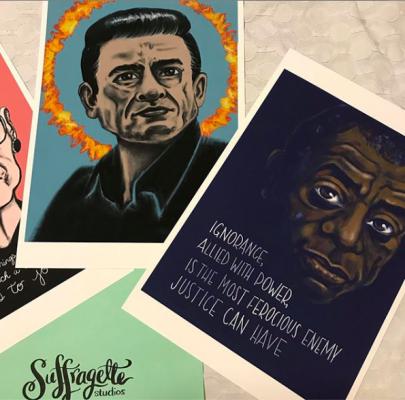 Prints of Johnny Cash and James Baldwin