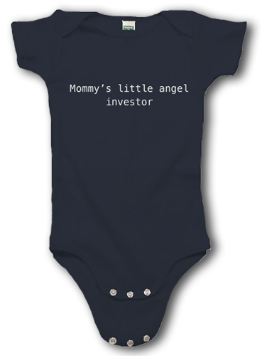 """Dark gray onesie with """"mommy's little angel investor"""" in white test"""