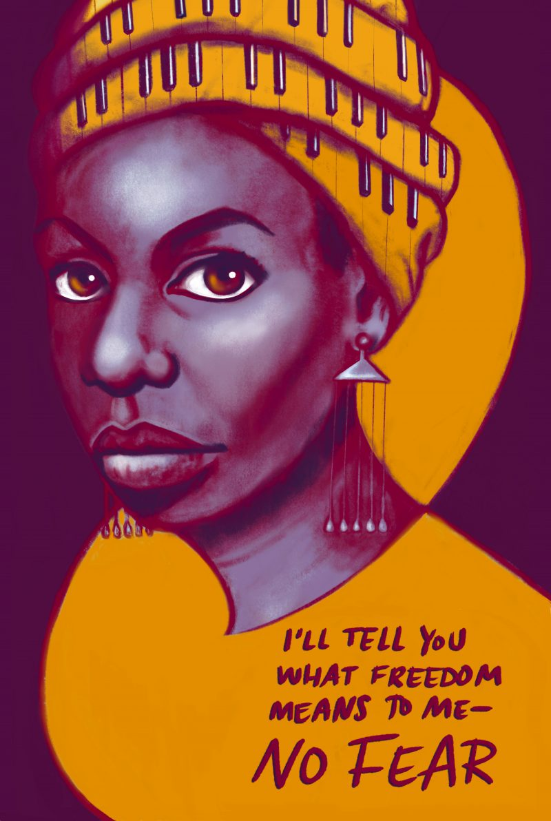 """Nina Simone with the quote, """"I'll tell you what freedom means to me, no fear"""""""